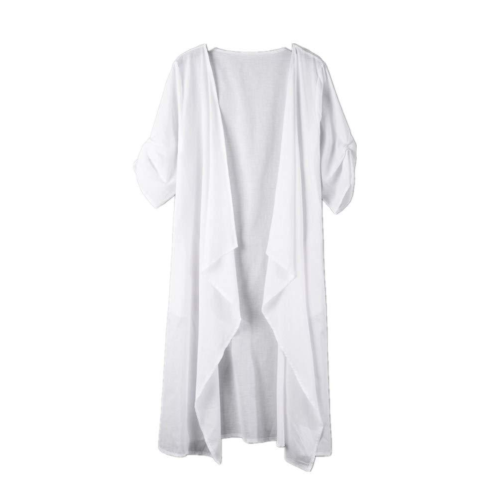 Womens Long Sleeve Pure Color Fashion Long Coat Bllouse T-Shirt Tank Tops