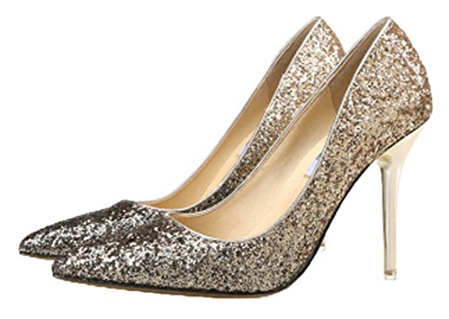 HooH Women Pumps Pointed Toe Sequins Gradient High Heel 9.5 CM Wedding Pumps Slip On Gery Gold mVxVSC19