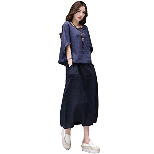 Deux Lin Taille L Robe Robe tibtain Grande Jupe Blanc Coton Robe pices Costume Vert Lin Femme Robe de MiGMV 1qxf7Op