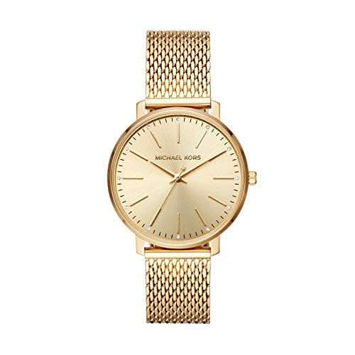 (Michael Kors Women's Pyper Quartz Watch with Stainless-Steel-Plated Strap, Gold, 18 (Model: MK4339) )