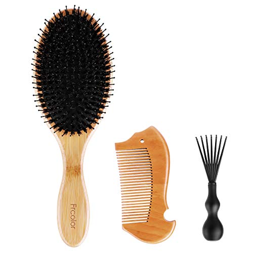FRCOLOR Hair Brush Boar Bristle Hairbrush Set for Women and Men, Bamboo Paddle Hairbrush with Natural Wild Boars Bristles Mixed with Plastic Pin, Wooden Comb For Curly Wet or Dry Hair Detangling -