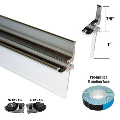 - Chrome Framed Shower Door Replacement Drip Rail with Vinyl Sweep - 32