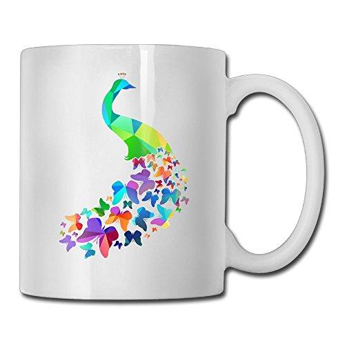 Peacock Butterfly Tail Custom Coffee Mug 11 Oz Mens Idea Gifts Tea Cup Butterfly Peacock