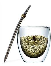 Novomates [NIEUW] Yerba Mate Gourd en Bombilla Set - Dubbele Muur Glas Yerba Mate Cup Met 2 RVS Mate Bombilla Rietjes - (250ml)