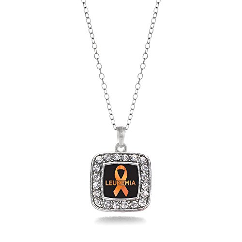 - Inspired Silver - Leukemia Support Charm Necklace for Women - Silver Square Charm 18 Inch Necklace with Cubic Zirconia Jewelry
