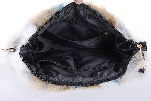 Furry Handbag Zipper Purse Pattern 1 Bag Shoulder Fur Women's QZUnique Faux Clutch qzXHYyRx