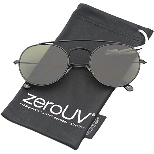 zeroUV - Classic Full Metal Double Bridge Crossbar Flat Lens Round Aviator Sunglasses 54mm (Black / - Round Double