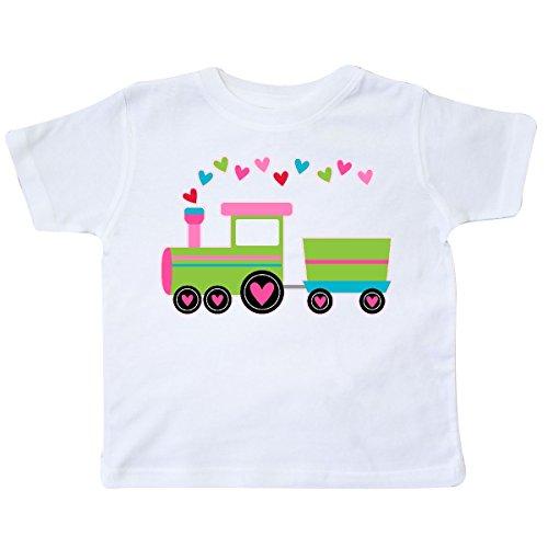 inktastic - Valentine Heart Train Toddler T-Shirt 3T White -