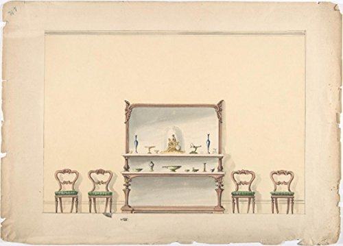 Fine Art Print | British, 19th Century | Design for a Mirrored, Marble-Topped Sideboard and Four Chairs | Vintage Wall Art | 11in x 14in ()