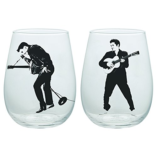 Vandor 47212 Elvis Rock and Roll Contour Drinkware Glass Tumblers, 18 Ounce, 2 Piece Set, 18 oz. -