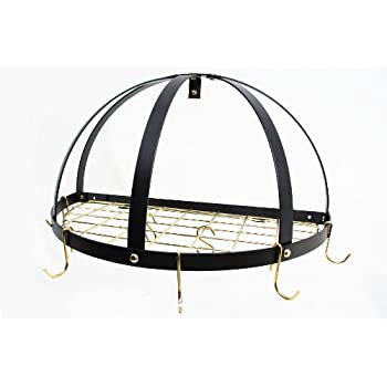 Amazon Com Rogar Black Amp Brass Kd Half Dome Pot Rack