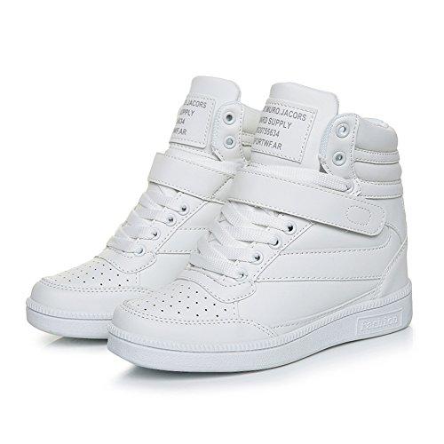 Zeppa Alte Stivaletti Nero Stivali Donna Bianco bianco 7 Polacchine Scarpe Sneakers Tacco da Ginnastica Strappo UBFEN Stealth cm Rosa Interna 5FBwxXqq4