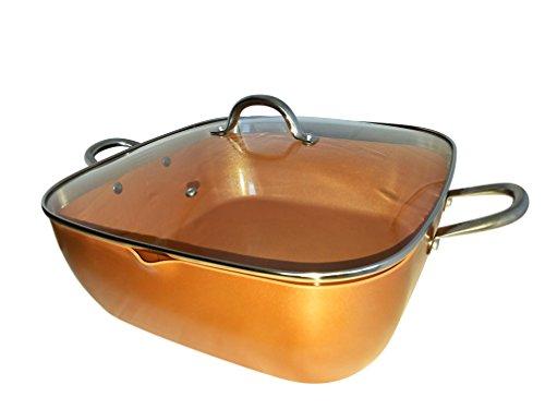 Copper Pan XL Jumbo 14-Inch Deep Square Pan 12 Qt Tempered G