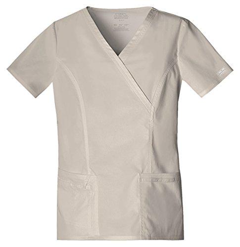 Price comparison product image Cherokee Workwear Women's Mock Wrap Pocket Shirt_Khaki_XX-Large,4728