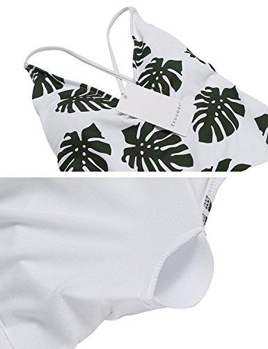 Modfine da Costume Costumi Benda Bikini Donna XXL Interi Taglie Stampa Foglia S amp; Bagno Bianco r5rxqd