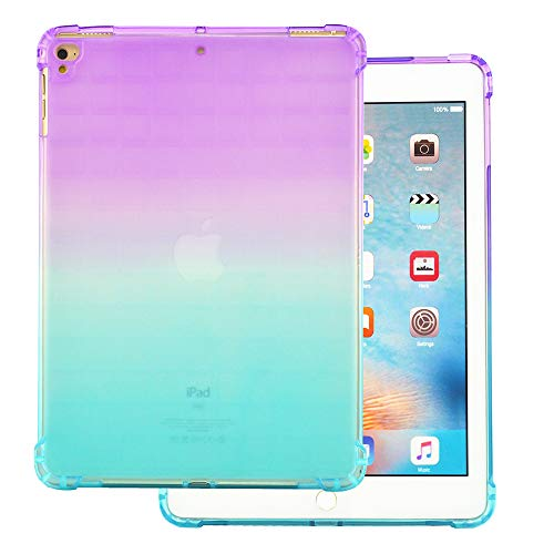 IP 9.7 case Compatible with iPad 9.7 Case 2017 2018 Air 1 Air 2 Shell A1822 A1823 A1893 A1954 Cover Clear 6gen 5 6 5th 6th Gen Generation I Pad Apad Shell Bumper iPad9.7 Cover (Purple-Green) (Apad Tablet)
