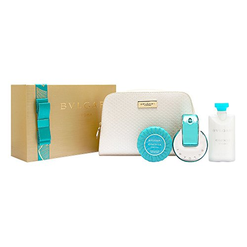 Bvlgari Omnia Paraiba for Women 4 Piece Set Includes 2.2 oz Eau de Toilette Spray 2.5 oz Lotion 2.6 oz Scented Soap Beauty Pouch