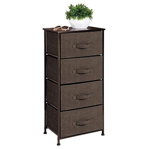 mDesign Vertical Dresser Storage Tower - Sturdy Steel Frame, Wood Top, Easy Pull Fabric Bins - Organizer Unit for Bedroom, Hallway, Entryway, Closets - Textured Print - 4 Drawers - Espresso Brown ()