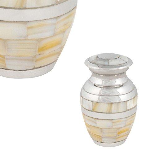 - Perfect Memorials Brass Nickel Mother of Pearl Keepsake Cremation Urn