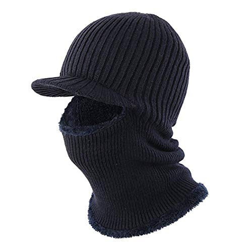 - Winter Hat Beanie Cap Balaclava Face Mask Men's Women's Knit Wool Warm Neck Scarf Set Windproof Motorcycle Blue