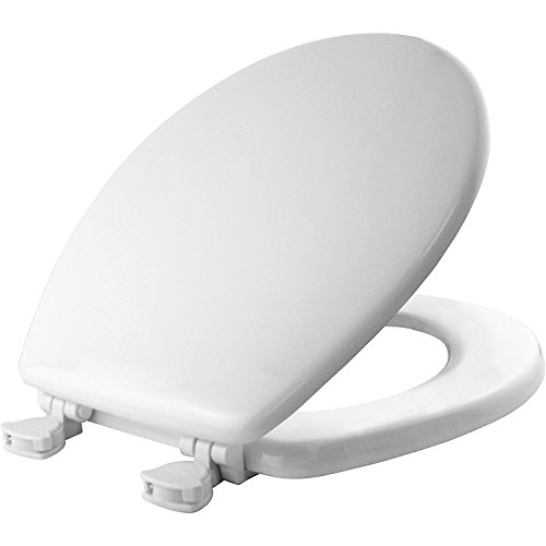 (MAYFAIR Toilet Seat Easily Remove, ROUND, Durable Enameled Wood, White, 44ECA 000)
