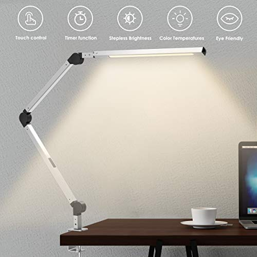 Swing Arm Lamp, LED Desk Lamp with Clamp, 9W Eye-Care Dimmable Light, Timer, Memory, 6 Color Modes, Wellwerks Modern Architect Table Lamp for Task Study Reading Working/Home Dorm Office (Silver)