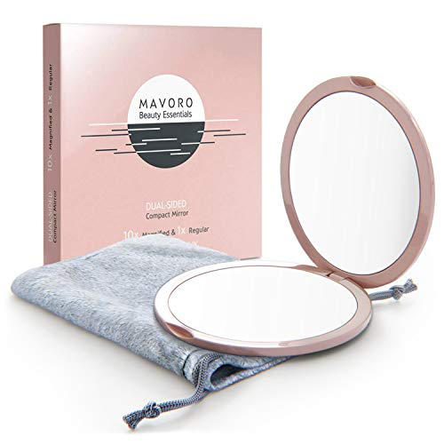 Magnifying Compact Mirror for Purses with 10X Magnification - Pink Double Sided Travel Makeup Mirror, 4 Inch Small Pocket Mirror, or Purse Mirror. Distortion Free Folding Portable Compact Mirrors