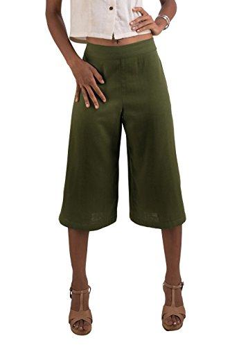 Tropic Bliss Women's Organic Cotton Capri Pants, Green Gauchos -