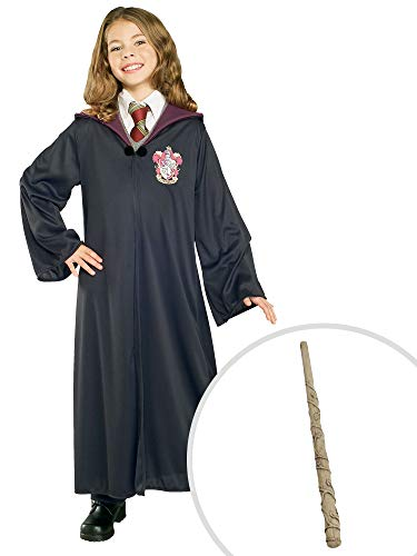 Harry Potter Gryffindor Costume Kit Kids Medium Robe With Hermione Wand -