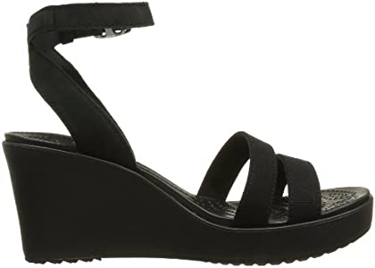 Crocs Women's Leigh Wedge Sandal,Black,10 M US: