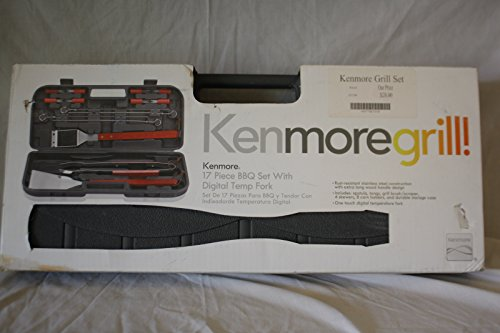 Kenmore Grill - 17 Piece BBQ Set with Digital Temp Fork