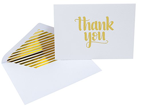 Thank You Cards With Matching Envelopes & Decorative Stickers By White Sand Products: Pack Of 25 Premium Gold Foil Letterpress Thank You Notes For Weddings, Birthdays, Clients, Baby - Mail Priority Fee