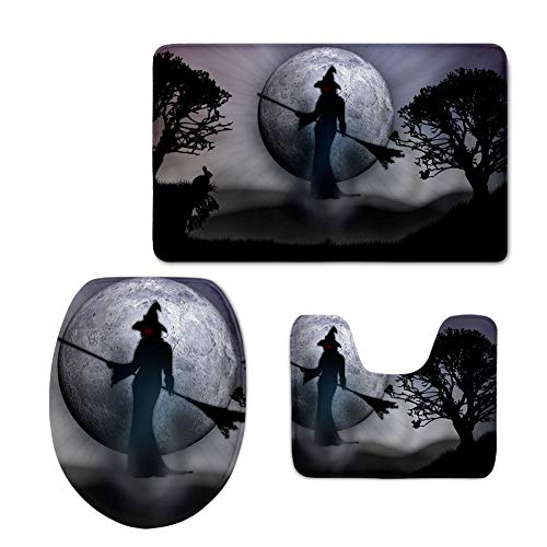 HUGS IDEA Halloween Witch Pattern Soft Bathroom Rug Set Included Pedestal Rug + TID Toilet Cover + Bath Mat 3 PCS