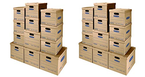 Bankers Box SmoothMove Classic Moving Kit Boxes, Tape-Free Assembly, Easy Carry Handles, 8 Small 4 Medium,(7716401)