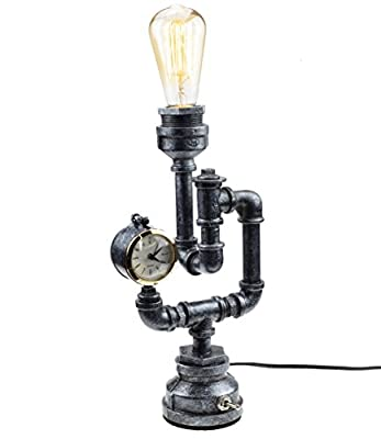"""Steam Punk Lamp with Dimmer, Dimmable Loft Style Industrial Vintage Antique Style Light, Iron Piping Aged Rustic Metal Desk Lamp, Y-Nut""""Snider"""" QTF-SJ03"""