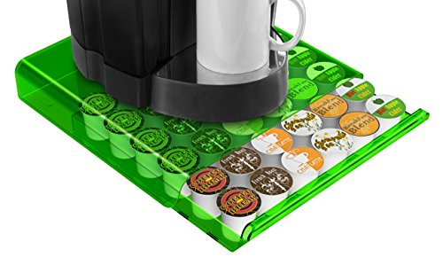 Green Condiment Holder (Mind Reader Coffee Pod Storage Drawer for K-Cups, Verismo, Dolce Gusto, Green/Clear)