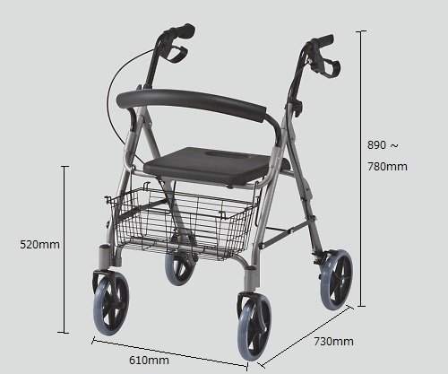 【パッセジャータ】 折りたたみ アルミ製 軽量 椅子付き シルバーカー 6段階高さ調節 歩行車 かご 付 耐荷重110kg SA0985121 B076D4GSMM