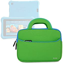 Evecase All-New Fire 7 Kids Edition Tablet Sleeve, Ultra Portable Handle Carrying Portfolio Neoprene Sleeve Case Bag for Amazon Fire HD 6 / 7 Kids Edition, 6'' / 7 inch HD Display - Green