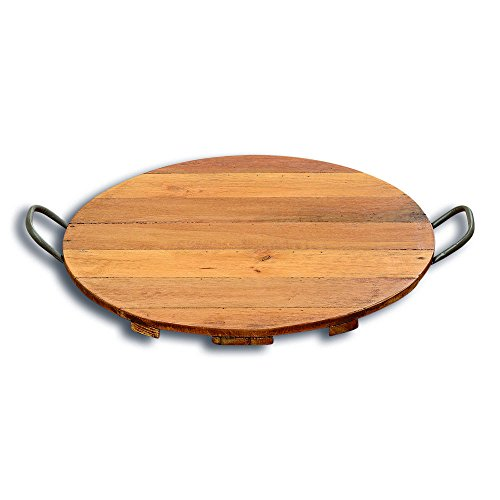 The Barrel Top Wine Country Serving Board Tray with Side Handles, Sustainable Wood, Metal, Rustic Barrel Head Top Design, 1 Ft 8 ½ Inches Diameter, By Whole House Worlds