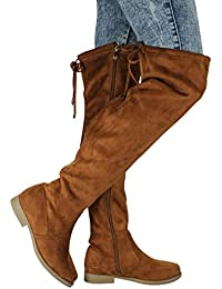 Women V-Hi Fashion Slouchy Round Toe Faux Suede Slanted Cuff Over The Knee Flat Boots