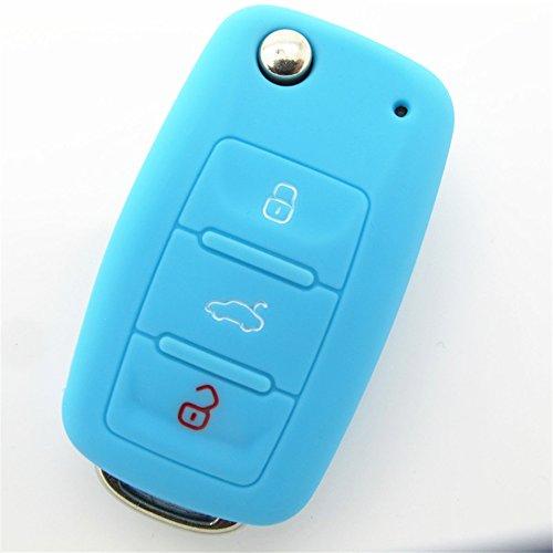 tons Silicone Key Case Cover Keyless Entry Remote Fob Shell for VW Volkswagen Eos Golf Jetta Polo Sirocco Tiguan Touran Seat Ibiza Leon Toledo Skoda -Blue ()