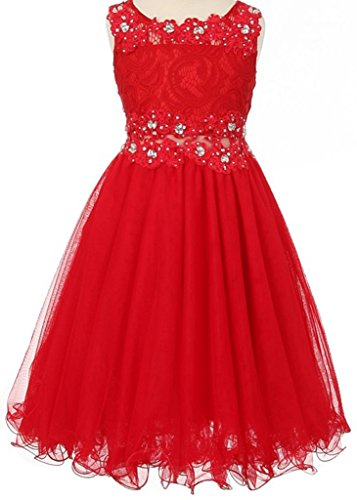 Price comparison product image Big Girls' See Through Waistline Lace Flowers Girls Dresses Red Size 14