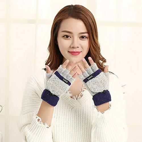 KXIN Winter Warm Gloves for Ladies, Flip Coral Fleece Half Finger Gloves,Gray