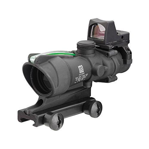 Trijicon ACOG TA31F-G-RMR Trijicon 4x32 Scope with Dual Illuminated Green Chevron .223 Ballistic Reticle, 3.25 MOA RMR Sight and TA51 Mount by Trijicon