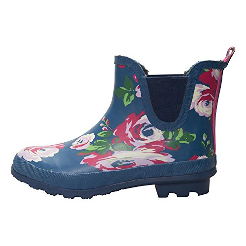 Mountain Warehouse Floral Winter Ankle Wellies - Waterproof PVC Outer, Soft Wool Lining with Durable Rubber Outsole, EVA Footbed & Easy to Clean Wellingtons Navy