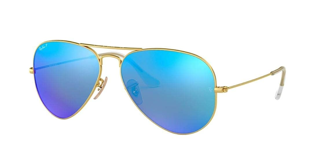 2af87fac1a Amazon.com  Ray-Ban Authentic Aviator RB 3025 112 4L 58MM Matte Gold   Blue  Mirror Polarized  Clothing