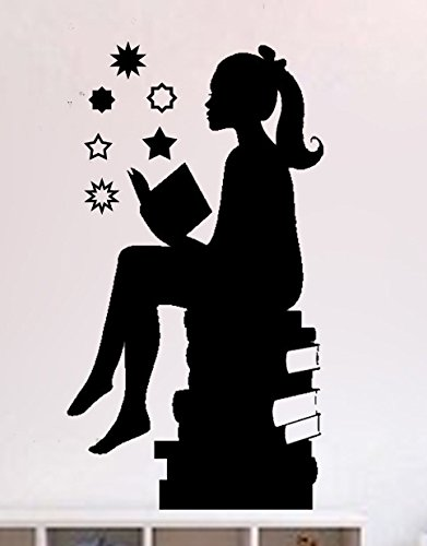 Girl Silouette (Silouette of Girl Reading Books-girls Room Vinyl Wall Decal (BLACK, 12X20))
