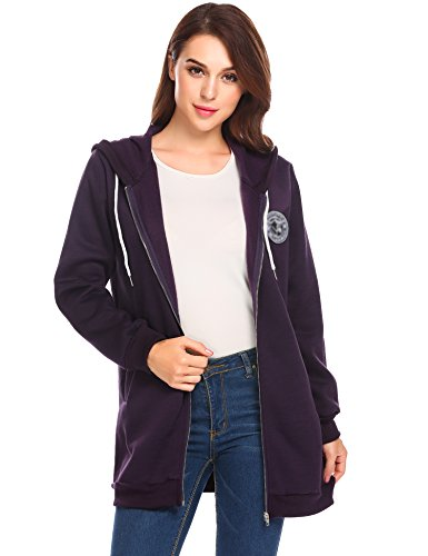 ELESOL Women Hooded Long Sleeve Full Zipper Up Hoodie Sweatshirt Jacket with Pocket, Violet L