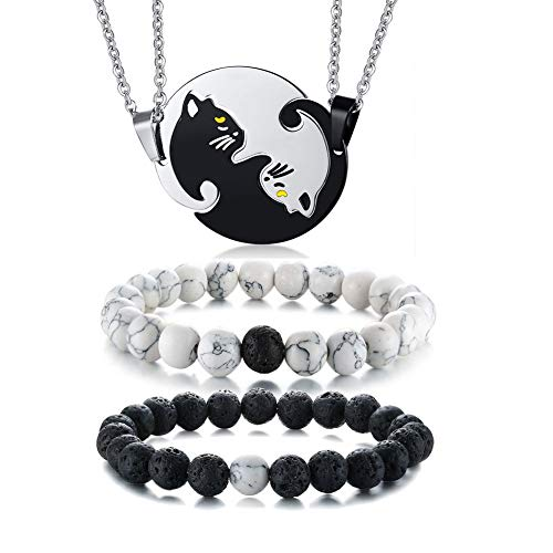 VNOX 4 Pcs His & Hers Copules Puzzle Cat Necklace+Distance Yin Yang Bead Bracelets Valentine Gifts for Lover Jewelry Set