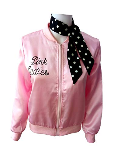 (Ladies 50S Grease T Bird Danny Pink Satin Jacket Halloween Cosplay Costume with Neck Scarf)